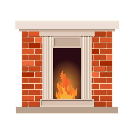 Vector home fireplace with fire. Vintage design of stone oven with fireside. Flat icon design. Illustration isolated on white background.