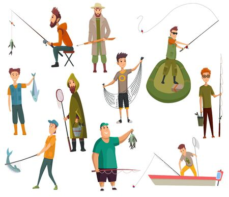 Set of fishermans fishing with fishing rod. Fishing equipment, leisure and hobby catch fish. Fisherman with fish or in boat, holding net or fishing rod. Vector illustration.