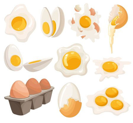 Cartoon eggs isolated on white background. Set of fried, boiled, cracked eggshell, sliced eggs and chicken eggs in box. Vector illustration. Collection eggs in various forms.