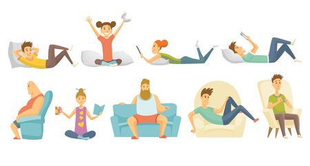 Collection of home leisure. Boys and girls rested at home in differint situations. Young people leisure time. Staying at home. Enjoyed leisure time alone
