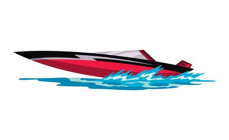 Speed motorboat. Sea or river vehicle. Sport nautical summer transportation. Motorized water vessel on sea water waves. Isolated on white background Illustration