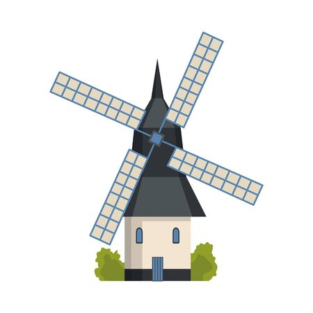 Traditional ancient european windmill building. Old rural windmill, village farm building. Alternative energy generation windmil. Medieval wind mill farm Иллюстрация
