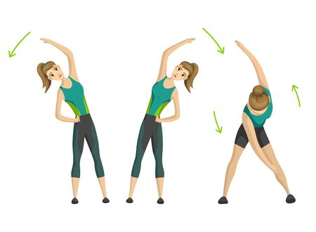 Woman fitness. Vector girl doing sport physical exercise. Woman exercising various different training poses. Active and healthy life concept.