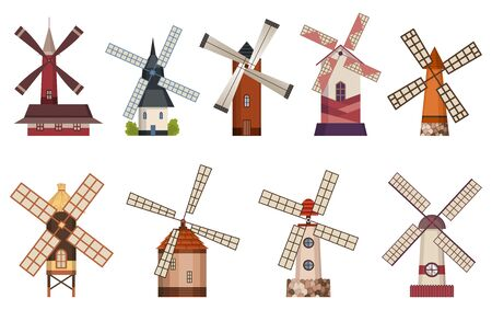 Collection of traditional ancient windmill buildings. Rural organic agricultural production, ecological food manufacturing, clean energy concept, wind mill farm. Medieval european windmill.