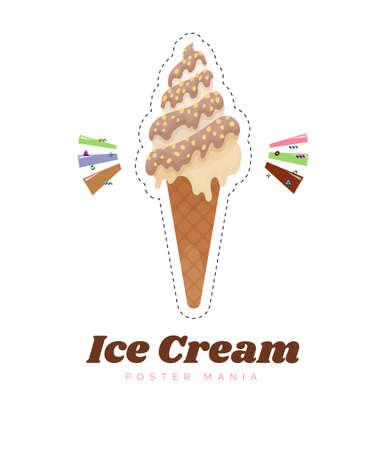 Ice cream sticker or badge. Cute ice cream cone cartoon vector illustration. Chocolate and vanilla ice cream dessert. Kids sweets. Stock Illustratie