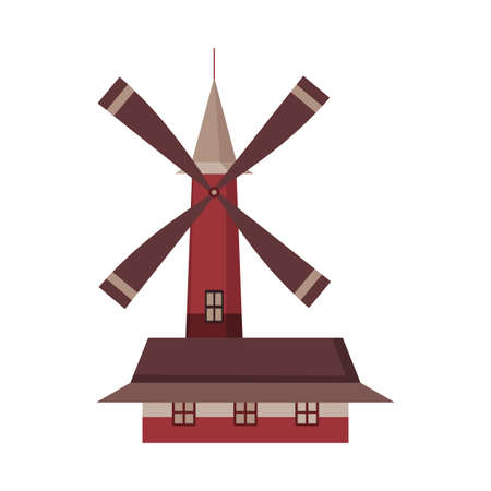 Traditional ancient windmill building. Rural organic agricultural production, ecological food manufacturing, clean energy concept, wind mill farm. Medieval european windmill.