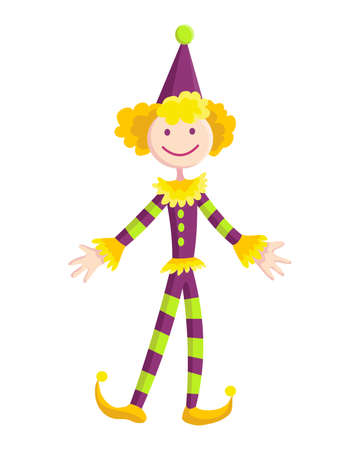 Children toy. Cute funny toy for little kid. Vector funny clown.