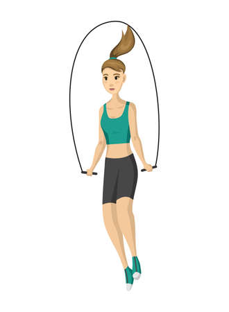 Woman fitness. Vector girl doing sport physical exercise. Workout aerobic fitness with skipping rope. Active and healthy life concept.