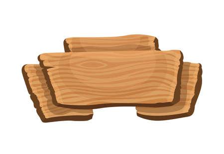 Wooden signboard. Cartoon brown wooden plate. Old guidepost, vintage restaurant signpost or advertising design concept. Banner template. Stock Illustratie