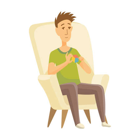 Home leisure. Boy sit on chair and playing Rubik Cube. Young people leisure time. Staying at home. Enjoyed leisure time alone. Stock Illustratie