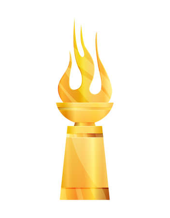 Award or trophy cup. Triumph sport prizes on first place, winner trophy gold cup illustration. Best competition achievement. Awards with fire shape. Stock Illustratie