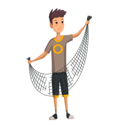 Young man with fish net in his hands. Boy prepares a fishing net. Successful fishing. Stockfoto - 151018393