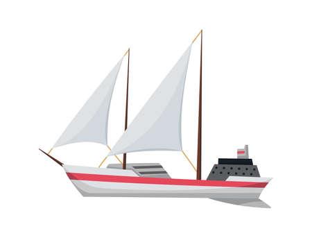 Yacht sailboat or sailing ship, sail boat marine. Cruise travel company. Vector icon.