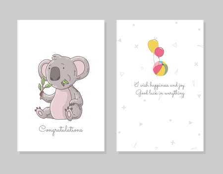 Cute koala eating eucalyptus. Hand drawn doodle poster template with airballs. Cute cartoon bear character.