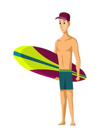 Summer beach activities. Guy standing with surfboard. Beach vacation. Cartoon style.