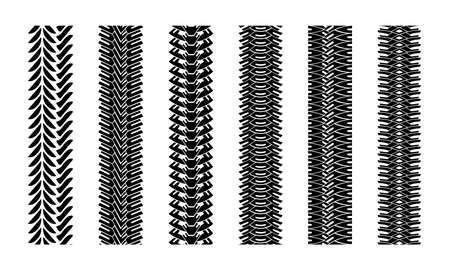 Editable tire tracks texture. Collection seamless tire pattern. Detailed tracks protector image. Set of tire imprints.