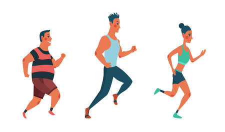 Men and women running marathon race. Group of people dressed in sports clothes. Participants of athletics event trying to outrun each other. Stock Illustratie