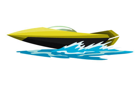Speed motorboat. Sea or river vehicle. Sport nautical summer transportation. Motorized water vessel on sea water waves. Isolated on white background.