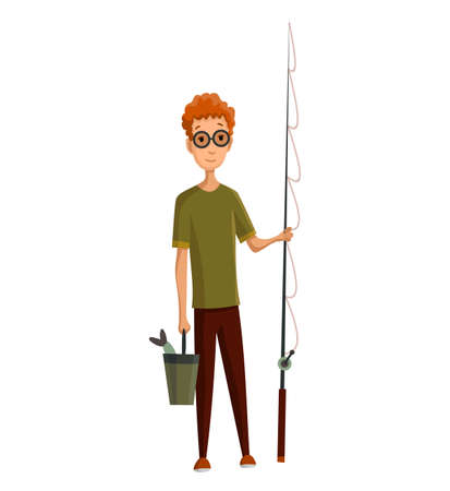 Young man with glasses, fishing rod and a bucket in his hands. Caught fish in a bucket. Successful fishing Stockfoto - 151409938