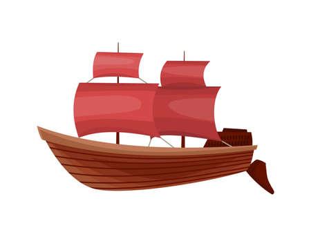 Yacht sailboat or sail boat marine. Cruise travel company. Sailing ship symbol