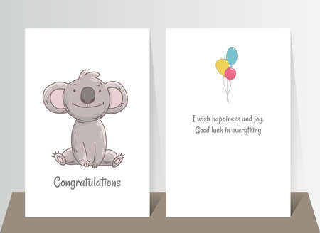 Cute koala sits. Hand drawn doodle poster template with airballs. Cute cartoon bear character Stock Illustratie