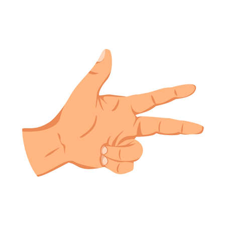 Female hand sign. Human finger gesture sign. Sign language. Isolated vector illustration Stock Illustratie