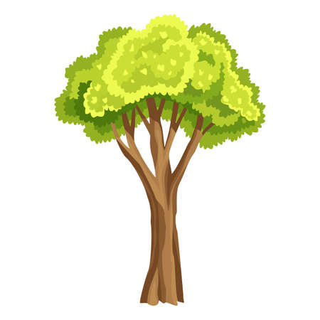 Tree with green leafage. Abstract stylized tree. Watercolor foliage. Natural illustration Stockfoto - 151410771