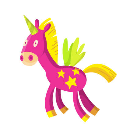Children toy. Cute funny toy for little kid. Vector unicorn
