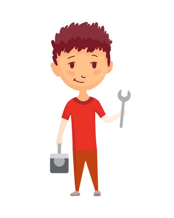 Kid builder. Little worker. Children with tool box and wrench, making job. Funny kid ready for repair work.