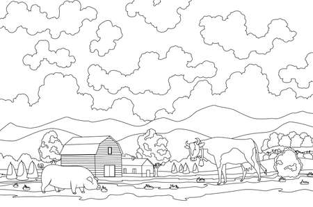 Coloring of eco farming. Meadow illustration eco natural farming concept. Ecological green farming. Cartoon vector farm landscape. Field with farmers building and animal