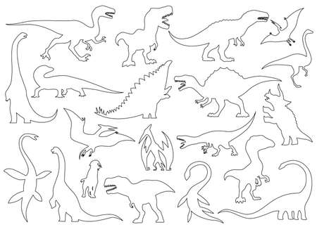 Dinosaur silhouettes set. Coloring dino monsters icons. Prehistoric reptile monsters. Vector illustration isolated on white. Black and white graphics