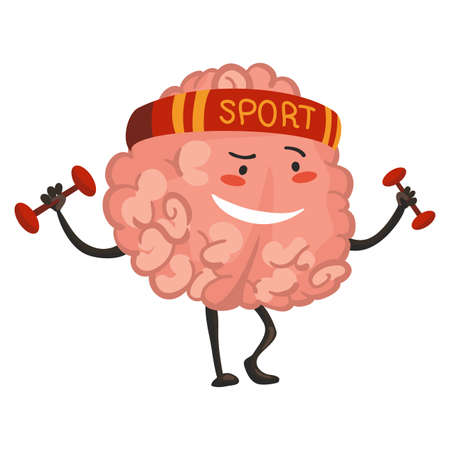Brain character emotion. Brain character goes in for sports. Funny cartoon emoticon. Vector illustration isolated on white background