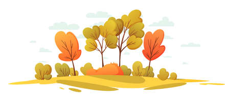 Autumn nature landscape with trees. Beautiful landscape cartoon background. Countryside panorama Stockfoto - 151410791