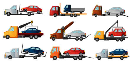 Collection of tow trucks. Cool flat towing trucks with broken cars. Road car repair service assistance vehicles with damaged or salvaged cars