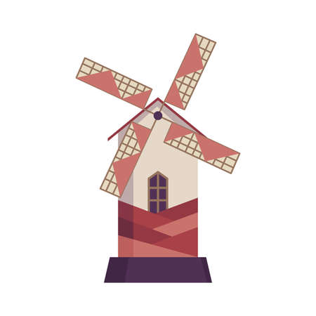 Traditional ancient windmill building. Rural organic agricultural production, ecological food manufacturing, clean energy concept, wind mill farm. Medieval european windmill Stockfoto - 151411128