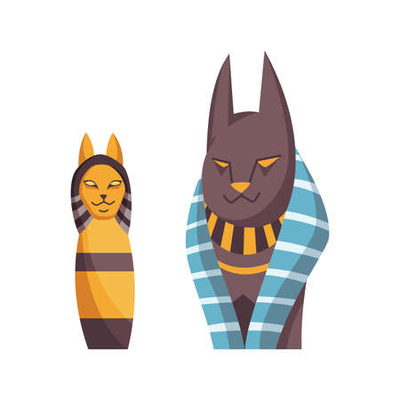 Egyptian cat. Bastet goddess. Black cat with golden necklace from ancient Egypt art. Cartoon realistic icon for design. Old style vector illustration isolated on white background
