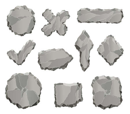 Stone game elements. Cartoon rock ui elements like arrows and panels, frames and buttons for game design isolated on white