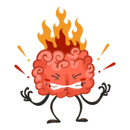 Brain character emotion. Brain character stands very angry, fire from the head. Funny cartoon emoticon. Vector illustration isolated on white background