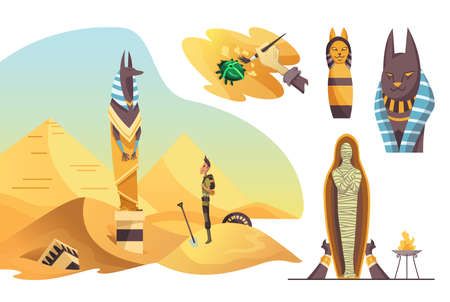 Collection of signs Egyptian archaeology. Various cultural symbols of Egyptian architecture and culture symbols on white background Stockfoto - 151908664