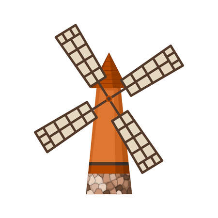Traditional ancient windmill building. Rural organic agricultural production, ecological food manufacturing, clean energy concept, wind mill farm. Medieval european windmill Stockfoto - 151898992