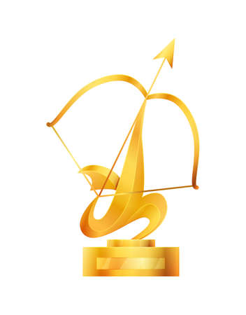 Award or trophy cup. Triumph sport prizes on first place, winner trophy gold cup illustration. Best competition achievement. Awards with bow and arrow shape