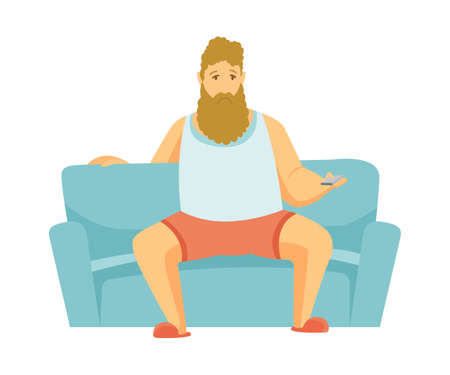Home leisure. Beard man sit on sofa and watch TV. People leisure time. Staying at home. Enjoyed leisure time alone