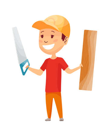 Kid builder. Little worker in helmet. Children with construction tool saw and board making job. Working builder in yellow helmet. Funny kid teamwork and kid engineer build house