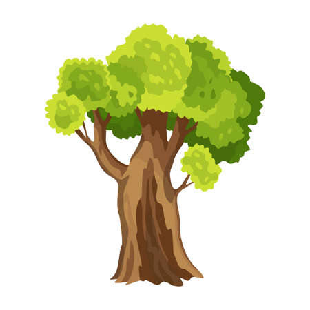 Tree with green leafage. Abstract stylized tree. Watercolor foliage. Natural illustration Stock Illustratie