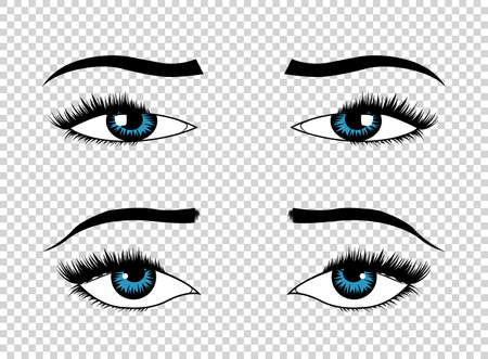 Vector eyes. Hand drawn female luxury eye with perfectly shaped eyebrows and full eyelashes. The perfect look. Health glamour design