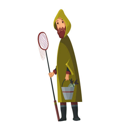 Bearded man with fish net and a bucket in his hands. Caught fish in a bucket. Fisher in raincoat. Successful fishing Stock Illustratie