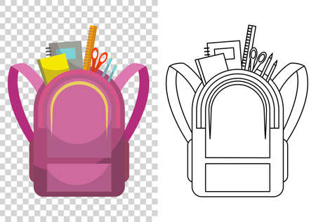 Education and study, school backpack icon. Extravagant student satchel. Colorful backpack of pupil. Kids school bag. Sketch and color style vector illustration on transparent background Stockfoto - 151902662