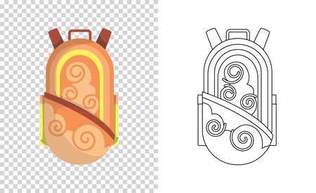 Colorful backpack of pupil. Kids school bag. Extravagant student satchel. Education and study, school backpack icon. Sketch and color style vector illustration Stockfoto - 151902524