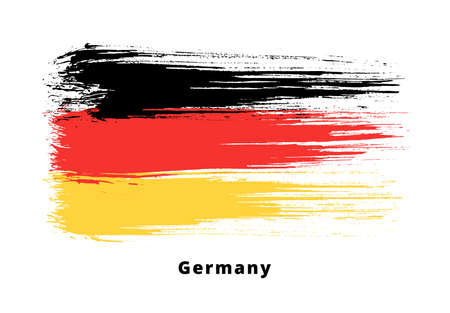 Painted grunge German flag. Brush strokes on white background. Grunge design element. Painted ink stripes Stockfoto - 152370249