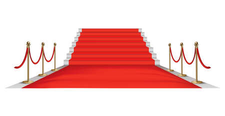 Red carpet golden barriers. Exclusive event. Red carpet with stairs red ropes and golden stanchions. Movie premiere, gala, ceremony, award concept Stockfoto - 152370250